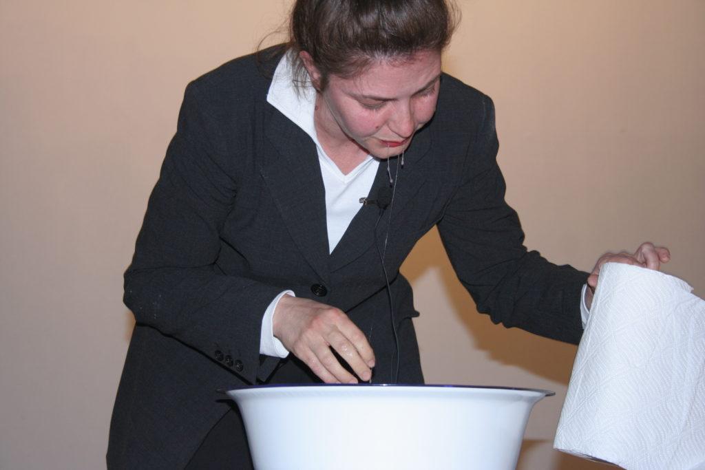 """Sandra Sterle. """"Nausea"""", performance, DOPUST festival,Split, 2008"""
